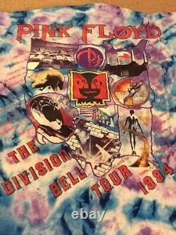 Pink Floyd The Division Bell Vintage Concert Tour T-Shirt 1994 Tie Dye Rare