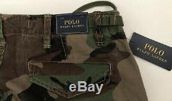Polo Ralph Lauren 40X30 NWT Cargo Pant Camo Utility Cotton Ankle Tie Hip Buckle