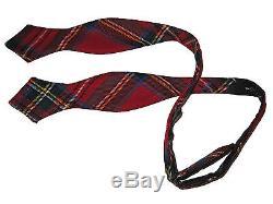 Polo Ralph Lauren Red Wool Tartan Plaid Slim Bow Tie