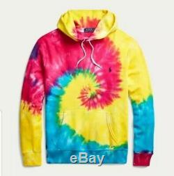 Polo Ralph Lauren Tie Dye Spiral Rainbow Hoodie sz Medium New with tags