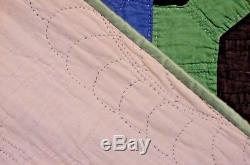 RARE AMISH BOW TIE QUILT 1930S HOLMES COUNTY OHIO 72 by 63 HAND QUILTED