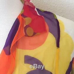 RARE Auth CHANEL Vintage Silk Multicolored Floral Wrap Tie CC Blouse-Size 38