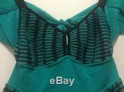 RARE NWT MISSONI Blue-Green Multicolor Mid-Length Tie Back Knit Dress IT 40/US 6