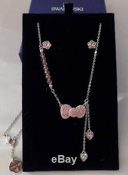 RARE Swarovski HELLO KITTY BOW TIE Pink Crystal Hearts NECKLACE EARRINGS SET EUC
