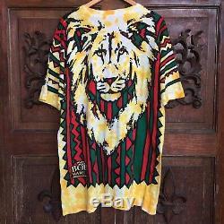 RARE VTG 1994 Liquid Blue Tie-Dye Bob Marley T-Shirt Rap Tee Rasta