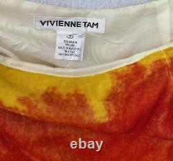 RARE Vintage Vivienne Tam Tie Dye Silk Velvet Maxi Skirt sz 2