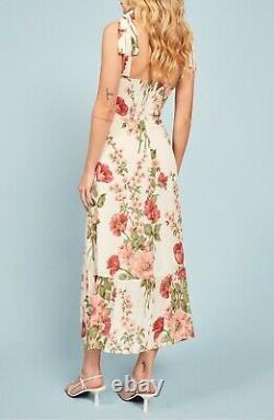 REFORMATION Etienne Dolce Floral NIKITA Ruffle Shoulder Tie Crepe Midi Dress 10