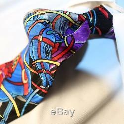 RUSH LIMBAUGH No Boundaries Collection Blue Multi-Color Carousel Horse Tie