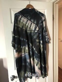 Raquel Allegra Wool/Cashmere Tie Dye Open Front Shawl Cardigan Sweater