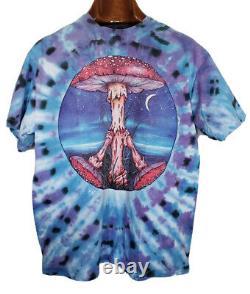 Rare Vintage 90s Mushroom Tie Dye T-Shirt Peter Pracownik Art Sz XL Travis Like