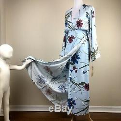 Reformation Blue Floral Wrap Dress Size L 12 14 Linen Kimono Maxi Wedding Guest