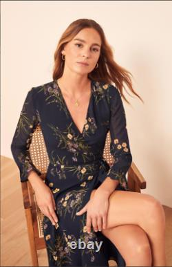 Reformation Mulberry Floral Print Wrap Mademoiselle MIDI Navy- Dress M=6-8