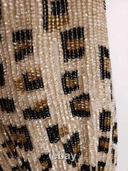 Retrofete $685 Gabrielle Sequin Leopard Belted Tie Wrap Robe Dress Size Large