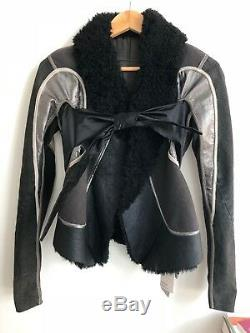 Rick Owens AW 2008 Patchwork Shearling Leather Moto Jacket IT 38 NWT