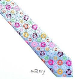 Robert Talbott Boc, Stunning White & Multicolor'floral Circles' Tie, Freepost