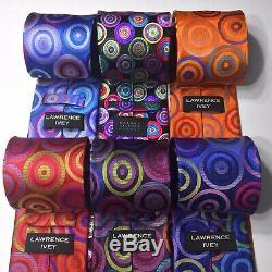 Robert Talbott & Lawrence Ivey 100% Silk Tie Set Mens Multi-color Circle Ties