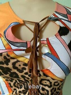 Roberto Cavalli Stretchy Marigold Leopard Zebra Animal Sleeveless Blouse XS