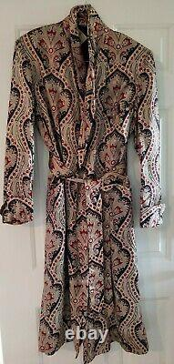 Robes By Stafford Calf Length Paisley Lined Smoking Jacket Gown Vintage