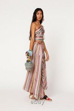 Rosie Assoulin Halter Waist Tie Top Rainbow Stripe Crop Luxury S NWT $650