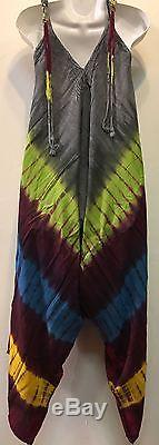 SACRED THREADS tie dyed harem rayon beach ROMPER OVERALLS O/S fits S/M/L/XL/1X