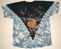 STAR WARS-TIE FIGHTERS-Liquid Blue Darth Vader Tie dyed 2 sided T shirt sz L NEW