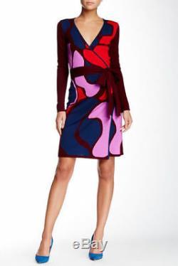 SZ L Diane von Furstenberg DVF Linda Rose Trellis Self Tie Belt Wrap Wool Dress