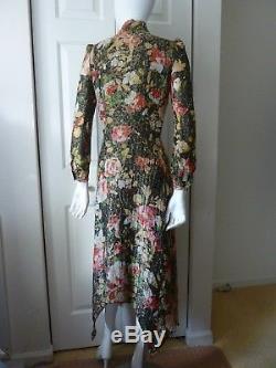 Saint Laurent Long-Sleeve Tie-Neck Floral-Print Midi Dress Size36(F) $4590 NWT