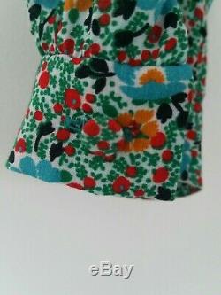 Saint Laurent Multicolor Floral tie-neck Blouse V-neckline Buttoned Cuffs