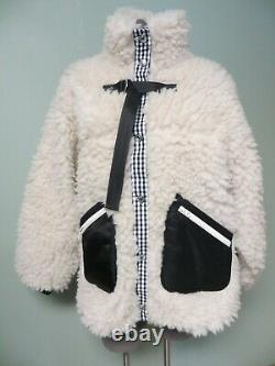 Sandy Liang Gingham Trim Plush Cloud Sherpa Jacket L Seven Fleece Teddy Faux Fur