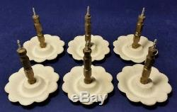 Set of 6 Antique Ceramic Curtain Tie Backs with Brass Hardware Flowers & Gold