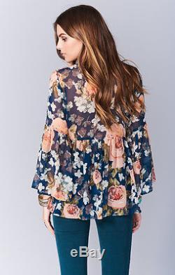 Show Me Your MuMu Ladies Poet Tie Fall in love Floral Flower Ladies Top-L