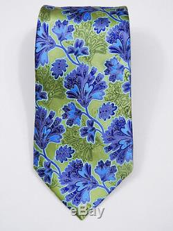 Stunning Luxury Ermenegildo Zegna Smooth Satin Floral Silk Tie L 61.5 X W 3.5