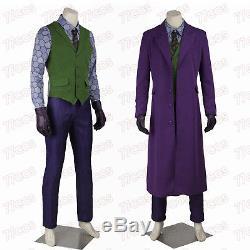 Super The Dark Knight Joker Heath Ledger Cosplay Costume Full Set All Size Suit