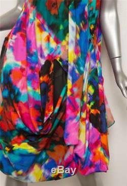 THAKOON Womens Multi-Color Print Pattern Sleeveless Tie Twist Bubble Hem Dress 8