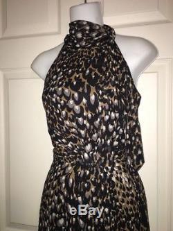 TRINA TURK Leopard Print Silk Side Tie Neck Coachella Festival Sundress Size 8