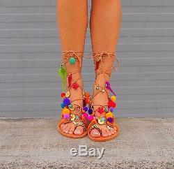 Tie Up Gladiator Sandals, Greek Sandals, Pom Pom Leather Sandals