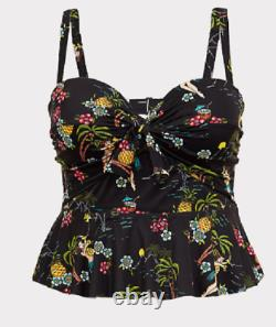 Torrid black multi color hula girl tie front underwire tankini swim top size 2R