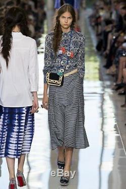 Tory Burch Kelby Skirt $300 Indigo Blue Tie Dye 4 S XS Runway Tea Shibori