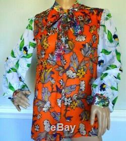 Tory Burch Kia Bow Tie Orange Grove California Floral Dress Silk Blouse Top US 4