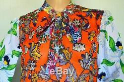 Tory Burch Kia Bow Tie Orange Grove California Floral Dress Silk Blouse Top US 8