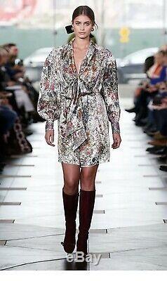 Tory Burch Vanessa Dress $598 Silk Midi Melody Floral Metallic L 12
