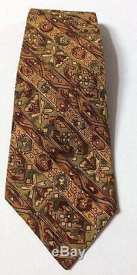 Trader Vics Mens Necktie Multicolor Geometric Batik Design 56.5