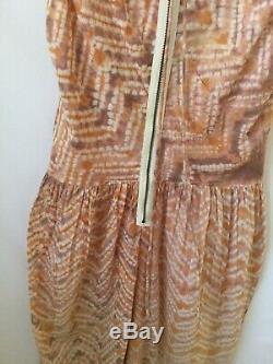 ULLA JOHNSON Indian Batik Tie-Dye Puckered Cotton Asymmetrical Hem Dress M