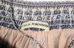 ULLA JOHNSON Sz 4 100% Imane Silk Tie Shoulder Smocked Floral Dress Sundress
