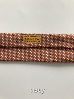 ULTRA RARE New Hermes Paris Tie AWESOME DESIGN Orange/Blue/White Horse & Jockey