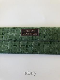 ULTRA RARE New Hermes Paris Tie Green/Blue H Pattern ROSE & APPLE TREE Wow