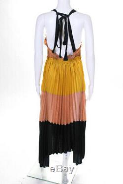 Ulla Johnson Womens Pleated Gisella Maxi Dress Black Nude Colorblock Size 6