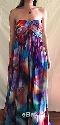 Unique La Femme Size 8 Watercolor Gown/Prom Dress, Tie Dye Chiffon, Hippie