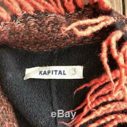 Used Kapital Crimped Wool 100% Cardigan Fringed L Size Tie With A String C