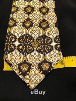 VERSACE PRE DEATH MEDUSA TIE Gold Black White GEOMETRIC Classic All Silk Necktie